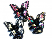 Lapeach Fashions Latest Coloured Stone Butterfly Hair Clamp Clip Grip Claw Clamp Size 8cm Set Of Three