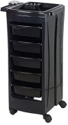 TekNoh Evo - 6 Tier - Salon Rolling Storage Trolley - Black - Hairdressers Hairdressing Spa Hair Stylist Beauty Barber Cart Drawers Roller