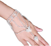 Rhinestone Hand Harness Bracelet Bangle Slave Chain Link Finger Ring Bracelet