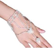 Rhinestone Hand Harness Bracelet Bangle Slave Chain Link Finger Ring Bracelet