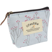 niceeshop(TM) Portable Canvas Pink Flower Coin Purse Pouch Bag Key Case,Light Blue