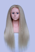TOPBeauty Blonde Mixed Hair Hairdressing Practise Training Head Doll Mannequin With Shoulder