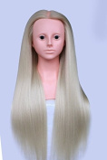 TOPBeauty Blonde Synthetic Hair Hairdressing Practise Training Head Doll Mannequin With Shoulder