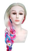 TOPBeauty Rainbow Synthetic Hair Hairdressing Practise Training Head Doll Mannequin With Clamp