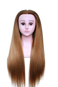 TOPBeauty Brown Synthetic Hair Hairdressing Practise Training Head Doll Mannequin With Shoulder