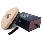 Beard Brush & 7.2 cm Comb for Moustache Combo, Curved Design Makes the Brush Ride Smoothly Through Your Beard and Hair. Feels great. 100% Boar Bristle. Packaged in a Premium Gift Box. Order yours!