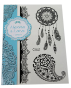 Henna and Lace Style Temporary Tattoo Transfer. Black Dreamcatcher with Paisley. Festival, hippy, boho, alternative.