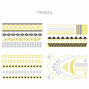 Hot Jewels® 4pcs Metallic Temporary Tattoos Silver Gold Black Colour Flash Body Jewellery Necklace Bracelets Sticker Sheet