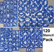 120 X Stencil Packs (One Use) for Glitter Tattoos / Airbrush / Cakes / Henna - Children Kids Parties, Fund Raising, Community Events, Pta, Charity