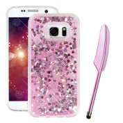 Galaxy S7 Edge Case for Girls, Galaxy S7 Edge Liquid Case with SOFT Bumper, Vioela Samsung Galaxy S7 Edge Liquid Cover in Pink, Creative Novelty 3D Floating Liquid Sparkle Glitter Bling Pink Hearts Design Kawaii Shock Proof Clear Crystal Protective Bac ..