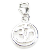 Ohm Om on 9mm clip small sterling silver charm .925 x 1 Sacred CI300217--09LS