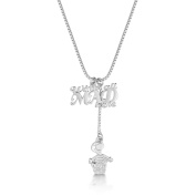 """Disney Couture White Gold-Plated Alice in Wonderland """"We're All Mad"""" Necklace"""
