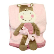 Rock a Bye Baby - Pink Hippo Embroidered Fleece Pram Blanket - 76 x 102cm