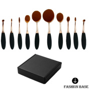 Fashion Base® 2016 Crazy Hot Professional 10pcs/set Tooth Brush Shape Oval Makeup Brush Set Professional Foundation Powder Brush Kits Box Set