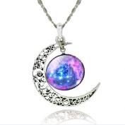 SheClub® Unique Design Crescent Moon Galaxy Universe Glass Cabochon Pendant Necklace Great Gifts