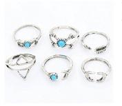 Smilucky 1 Set /6 Pcs Women Turquoise Arrow Moon Statement Mini jewellery Ring Set
