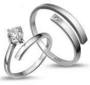Numeis Pair of Women's Rings, Diamond and 925 Sterling Silver, Simple Adjustable Rings