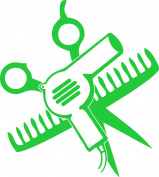SCISSORS AND COMB AND HAIR DRYER 13cm TALL GREEN - manufactured & sold by EYECANDY DECALS only