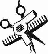 SCISSORS AND COMB AND HAIR DRYER 13cm TALL BLACK - manufactured & sold by EYECANDY DECALS only