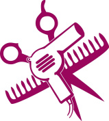 SCISSORS AND COMB AND HAIR DRYER 13cm TALL DARK RED - manufactured & sold by EYECANDY DECALS only