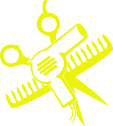 SCISSORS AND COMB AND HAIR DRYER 13cm TALL YELLOW - manufactured & sold by EYECANDY DECALS only