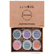 pureSOL Bath Bombs 6 Pack - Treat Yourself to a Relaxing & Luxurious Bath Time - Natural & Organic - Bath Bomb Essential Oils - Soothes Joints & Muscles - Bath Bomb Gift Set.