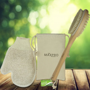 Maxpro Body Brush Bath 100% Natural Boar Bristle Wooden Handle with Exfoliating Glove & storage Pouch Detoxes exfoliates Replenishes Massages the Skin