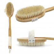 Natural Boar Bristles and Long Detachable Hand Grip, Luxurious Wooden Shower Body Brush