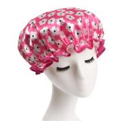 Women Elastic Band Reusable Double Layer Waterproof Shower Cap Spa Bathing Hat