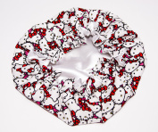HANDCRAFTED WHITE Reversible Kids and toddlers SATIN BONNETs are lined with HELLO KITTY Fabic