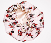 HANDCRAFTED IVORY Reversible Kids and toddlers SATIN BONNETs are lined with DISNEY MINNIE MOUSE Fabric (MADE IN USA)
