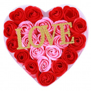 BININBOX Valentine's Day gift Romantic Rose Soap Flower Diamond love word+ Heart Shape Box
