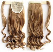 A.H #27 Reddish Brunette Fashion 60cm Wavy Wrap Around Clip In Ponytail Extension Synthetic Hairpiece Wigs 90g by A.H