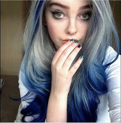 kylie Jenner Heat Resistant Fibre Hair mermaid ombre blue grey to blue body nature wave Synthetic lace front wig for women.