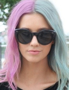 kylie Jenner Heat Resistant Fibre Hair mermaid half red and blue nature straight Synthetic lace front wig for women.