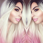 kylie Jenner Heat Resistant Fibre Hair mermaid ombre black blonde to pink body wave Synthetic lace front wig for women.