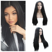 Kylie Jenner Heat Resistant Fibre Hair black colour long straight dark root Synthetic lace front wig for black and white women.