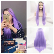 Kylie Jenner Heat Resistant Fibre Hair ombre brown to purple colour long straight dark root Synthetic lace front wig for black and white women.