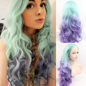 Kylie Jenner Heat Resistant Fibre Hair ombre green to purple colour blue bob dark root Synthetic lace front wig for African American black and white women women.