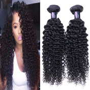 Bulanni Hair 3 Bundles Brazilian Deep Curly Virgin Hair Weave Unprocessed Human Hair Extensions Natural Colour Can Be Dyed and Bleached Tangle Free