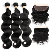 ALOT Hair 100% Unprocessed Brazilian Real Human Hair 3 Bundles with 13*4 Ear to Ear Lace Frontal Closure, Body Weave Hair Extensions , Natural Colour Weft