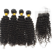 BEFA Hair Deep Curl Brazilian Virgin Hair with Closure Unprocessed Brazilian Curly Weave 3 Bundles with Free Part Lace Closure 4x4