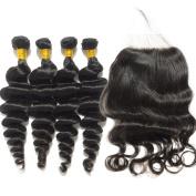 BEFA Hair 7A Unprocessed Brazilian Virgin Hair 4x4 Lace Closure With Human Hair Bundles 3Pcs Brazilian Loose Wave With Closure