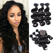 Virginhairfactory 7a Grade Brazilian Virgin Human Hair Body Wave 3 Bundles with 4*4 Top Lace Frontal Closure Human Hair Extensions Natural Black Colour
