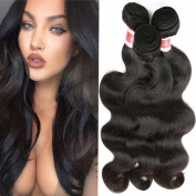 YIZE Hair 7A Virgin Brazilian Hair 3 Bundles Remy Brazilian Body Wave Hair Extensions 100% Unprocessed Body Wave Brazilian Virgin Hair Weave Natural Black Colour 100g/Bundle