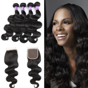 Unprocessed Virgin Brazilian Hair 4 Bundles Brazilian Body Wave With Frontal Lace Closure Human Hair Extensions
