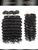 Fairgreat Hair 100% Brazilian Virgin Human Hair Deep Wave Hair Extensions with Lace Closure For Fashion Women