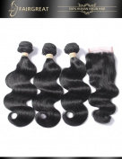 Fairgreat Hair Brazilian Virgin Remy Hair Body Wave Hair 3 Bundles With 4*4 Lace Closure Human Hair Extensions
