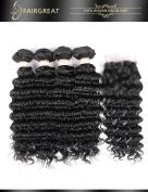 Fairgreat Hair Deep Wave Human Hair 4 Bundles with Lace Closure 100% Unprocessed 8A Brazilian Virgin Hair