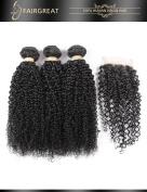 Fairgreat Hair 8A Curly Human Hair 3 Bundles With Lace Closure Brazilian Environmental Healthy Virgin Remy Hair For Women